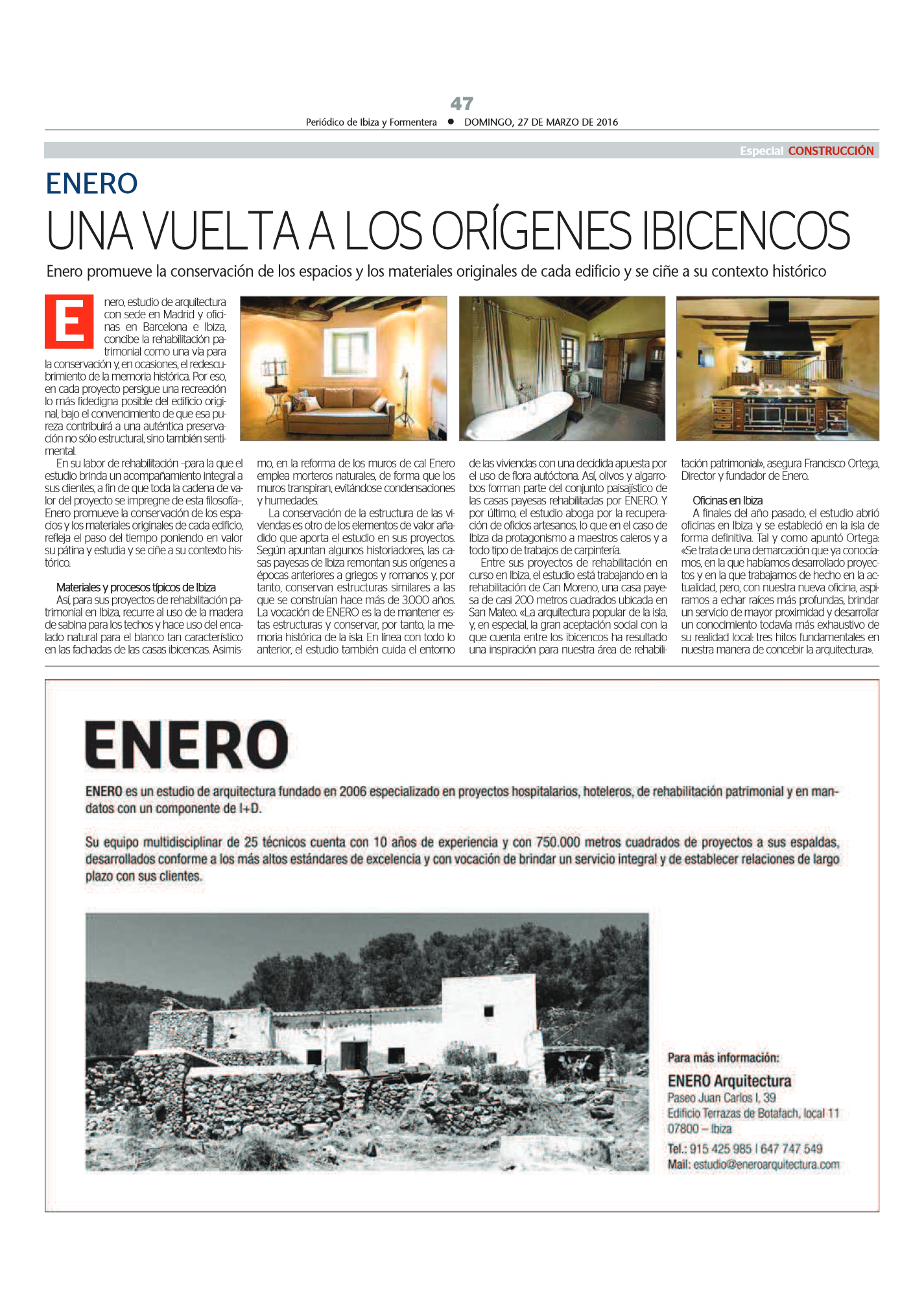 Periodico Ibiza Enero Arquitectura